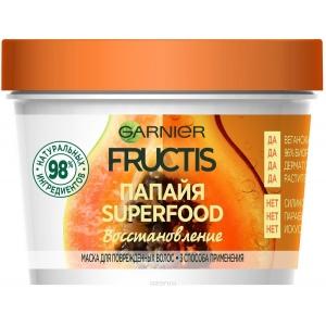"""Garnier Fructis Маска для волос 3 в 1 """"Фруктис, Superfood Папайя"""", восстанавливающая, для поврежденных волос, 390 мл, без парабенов, силиконов и искусственных красителей"""