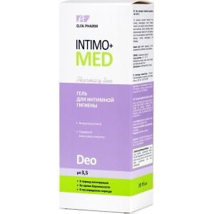 Elfa Pharm Intimo+med Гель для интимной гигиены DEO в период менструального цикла, беременности, pH3.5, 200мл