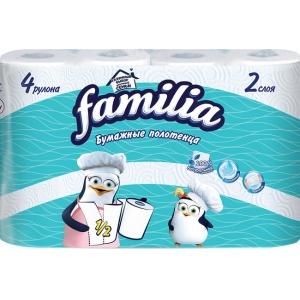 """Полотенца бумажные """"Familia"""", двухслойные, цвет: белый, 4 рулона"""