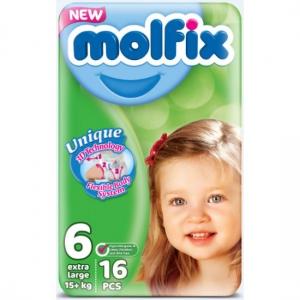 Molfix Unique Extra Large подгузники для детей #6, 15+ кг, 16шт