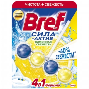 Bref Подвеска для унитаза 4 в 1 Сила актив, 50 гр (шарики) лимонная свежесть