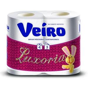 """Туалетная бумага Veiro """"3х-слойная, Luxoria"""", 4 шт"""