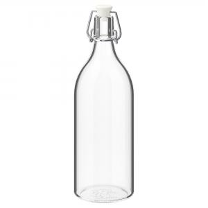 Бутылка с пробкой, прозрачное стекло1 л КОРКЕН