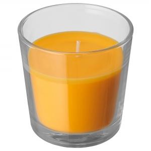 Ароматическая свеча в стакане, Манго/желтый7.5 см СИНЛИГ