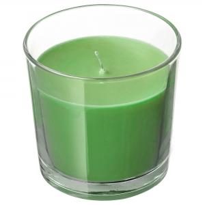 Ароматическая свеча в стакане, Яблоко и груша/зеленый 7.5 см СИНЛИГ