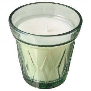 Ароматическая свеча в стакане, Утренняя роса/светло-зеленый 8 см ВЭЛЬДОФТ